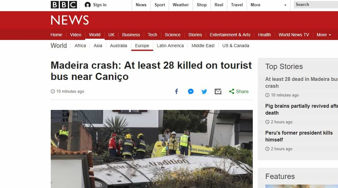 Madeira: Trágico acidente com autocarro destacado na imprensa estrangeira