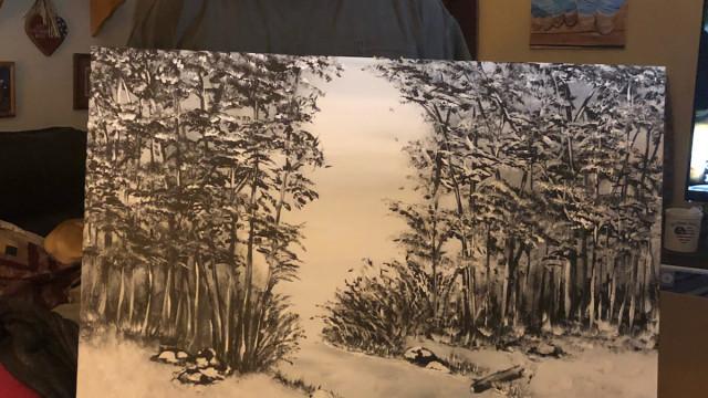 Não sabia fazer um desenho mas depois de um AVC começou a pintar assim