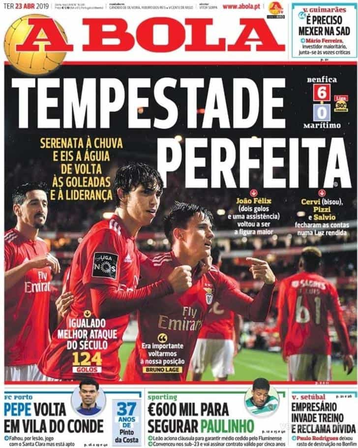 Por cá: Triunfo do Benfica e João Félix 'roubam' todas as atenções