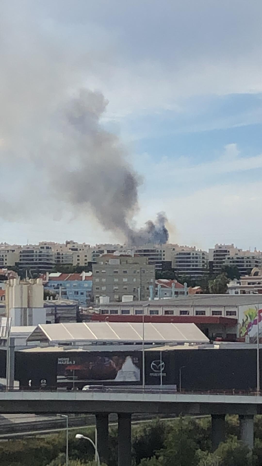 """Fogo em Sacavém consome """"mato e barracas"""". Quase 100 bombeiros no terreno"""