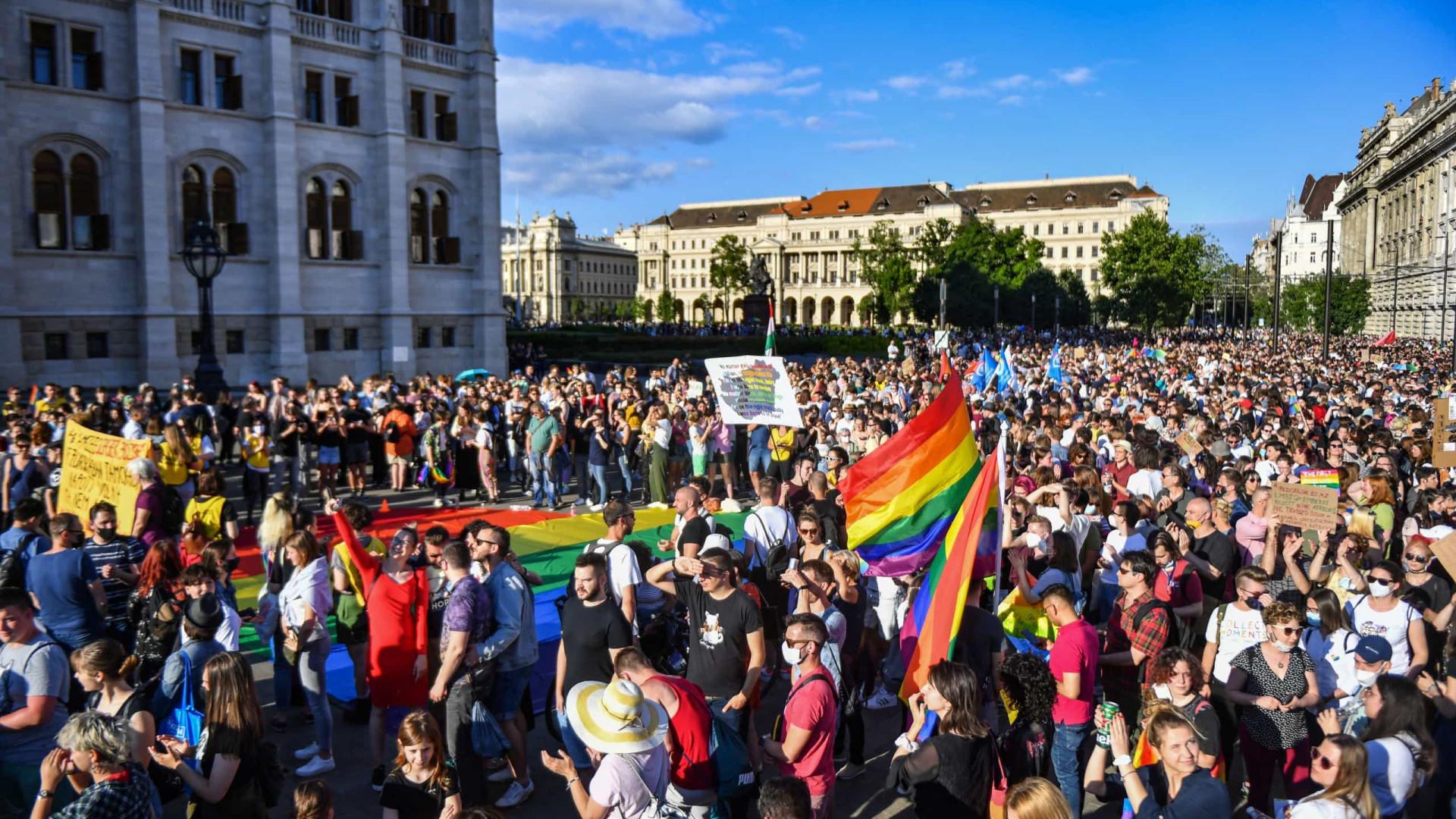 Húngaros em protesto para vetar lei que liga pedofilia a homossexualidade